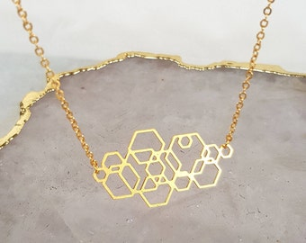 Delicate Gold Necklace - Minimalist Necklace - Hexagon Necklace, Geometric Necklace, Gifts for her, Gold Necklace, Unique Gift