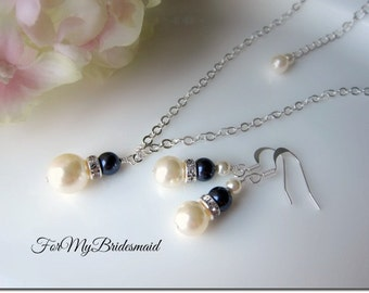 Weddings, Jewelry, Accessory, Pearl Jewelry Set, Ivory Navy Blue Necklace & Earring Set, Bridesmaid Jewelry Set (Other Colors Available)