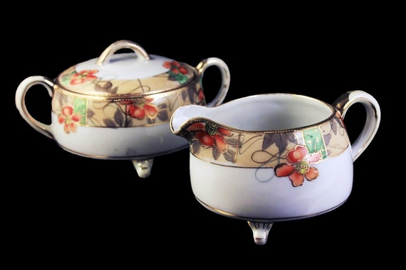 Nippon Sugar Bowl and Creamer, Antique, Footed, Cream Band, Orange Floral, Gold Trimmed