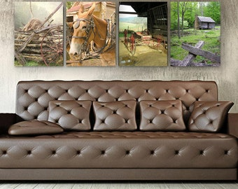 Farmhouse Decor, Farm Photography Set, Set of 4 Canvas, Log Cabin, Plow mule, wagon, hay stack, Rustic Home Decor, Rustic Wall Art Decor