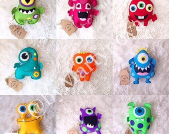 Funny monsters. Set of 9 felt monsters. Handmade toys. Baby gifts. Baby toys. Monster.