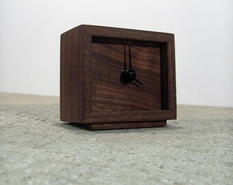 Wooden Clock - Walnut clock with continuous motion quartz mechanism