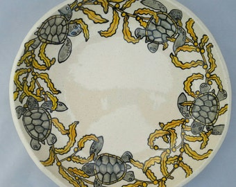 Sea Turtles swimming in Sargasso Seaweed Serving Bowl