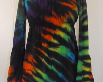 Tie Dye Peasant Top in Tiger Rainbow