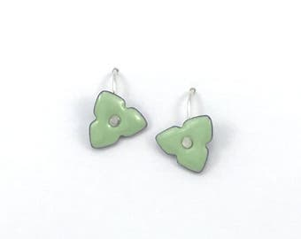 Reversible enamel trillium earrings on sterling silver earwires