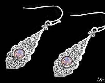 Art Deco Dragons Breath Earrings, Victorian Silver Dangle, Art Nouveau Vintage Jewelry