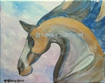 """Horse, Muted shades of golds, blues, lavender on canvas, equine art, 8""""x 10"""", by artist M Theresa Brown, Dream Horse Art original"""