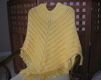 Knitted Ladies Poncho - Sunshine