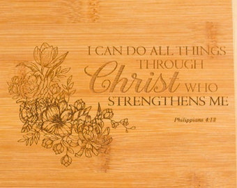 """Personalized Cutting Board with Favorite Scripture - 2-Tone Bamboo Bar Board - Small  Size 8"""" x 5.75"""""""