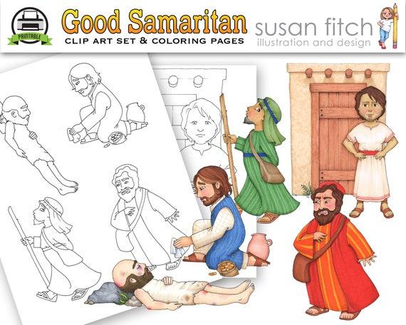 Páginas de arte y para colorear de clip buen samaritano