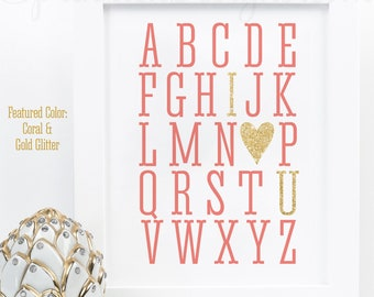 Alphabet ABC I Love You Sign, Printable Baby Nursery Decor, Girls Room Wall Art, Baby Shower Decoration, Wedding Sign, Coral Gold Glitter
