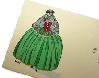 1920s French Fashion Christmas Card - Hand Tinted, Gold Accents, Artist Douky, Mini Card