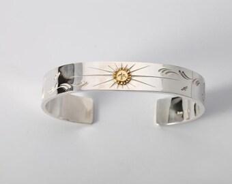Engraved Silver Bracelet   Gold Charm Bracelet   Native American Inspired   Flying Bird Bracelet   Cuff Silver Bracelet   18K Gold Charm