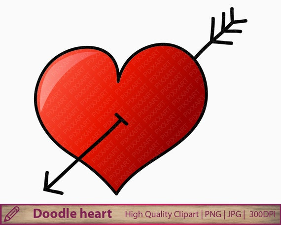 doodle heart clipart hand drawn heart clip art cute love graphics rh etsystudio com  cute love heart clipart