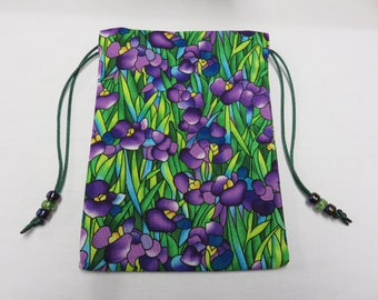 Stained Glass Irises, Lined in Silk, Handmade Tarot Pouch, Tarot Bag 5 x 7
