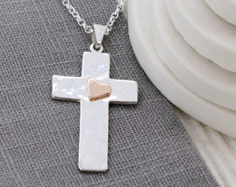 Silver Cross - Silver and Gold cross - Cross Necklace - Gold and Silver Cross - Confirmation Gift - Christian Gift - Gold heart Necklace