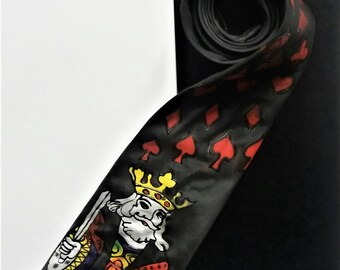 Hand painted silk tie, Luxury present for him, Unique tie,black silk tie, King card design tie