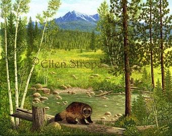 PRINTS, wolverines, 11 X 14,  Giclee Print-  Lodge Decor, cabin decor, wildlife decor, wolverine prints, forest, Ellen Strope