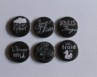 """BADGES """"Winter"""", hand, (flat back) scrapbooking embellishment, brooch (PIN back), magnet (magnetic back)"""