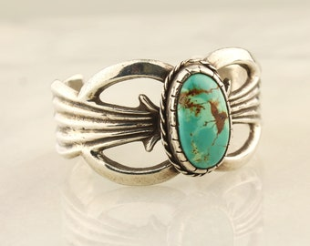 Sterling Silver and Turquoise Wide Cuff Bracelet, Vintage Silver Jewelry
