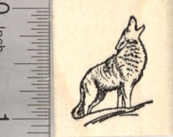 Howling Coyote Rubber Stamp, Wildlife, Small D26812 Wood Mounted