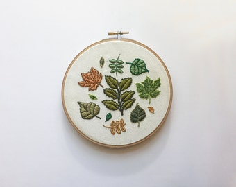 Nature is cool / Leaves on calico / Hand embroidery hoop art decor
