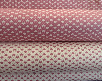Valentine Hearts Fabric,  100% Cotton Poplin,  Rose/Dusky Pink/Ivory, Rose & Hubble, For Quilting, Dressmaking, Soft Furnishings