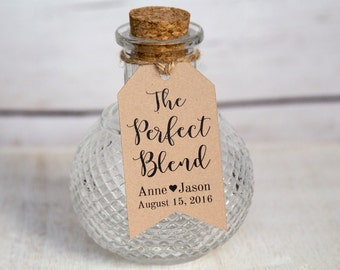 The Perfect Blend Tag - SMALL Size - Wedding Favor Tags - Shower - Baptism - Christening - Custom Tag - 36 Pieces - 2 x 1.1 inches
