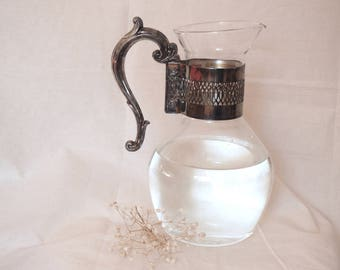 Glass and silver water or tea pitcher / vintage pitcher/ vintage carafe