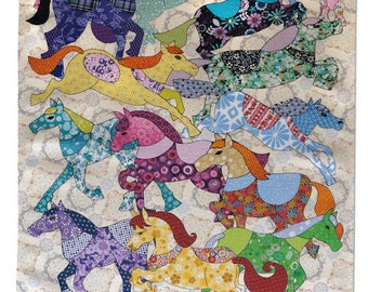 Pony Tea towel - Ponies Kitchen Towel - Cotton Dishcloth - Carousel Pony - A Colorful Printed Horse MollyMac dish towel gift idea