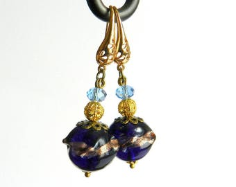Earrings baroque style Navy Blue and gold