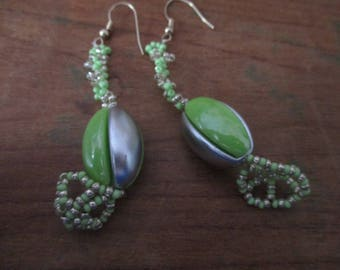 Original strip grey, green earings.