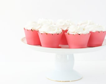 Coral Cupcake Wrappers Coral Party Supplies Beach Wedding Salmon Pink Cupcake Liners Coral Bridal Shower Salmon Pink Baby Shower / Set of 12