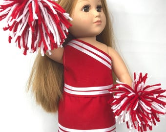 """Doll cheerleading outfit, 18"""" doll clothes, red white, doll costume, doll pom poms, doll skirt"""