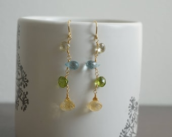 Precious and beautiful gemstone briolette earrings, briolette earrings, peridot earrings, citrine earrings, dainty earrings, chic jewelry