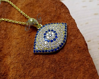 Gold & Blue Protective Eye CZ Pendant .925 Silver Necklace