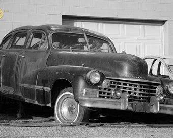 Old Cadillac in Black and White Photograph Great for Bar, Garage, Man Cave Masculine Print Wall Hanging Home Decor