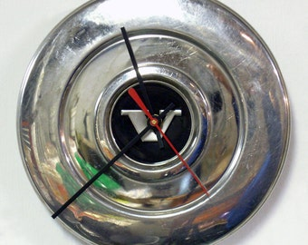 1974 - 1979 Volvo 240 Series Hubcap Clock - Recycled Wall Clock - Eco-friendly - 1975 1976 1977 1978