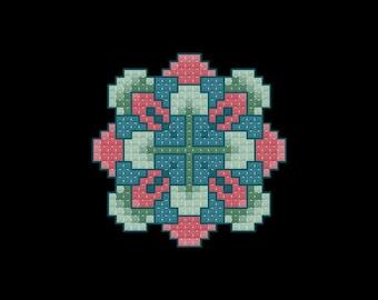 Blooming Square Cross Stitch Pattern PDF Digital Download