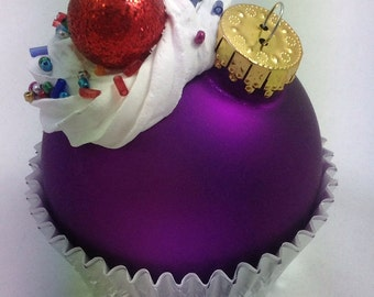 Cupcake Ornament - Matte Purple