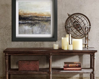Abstract Landscape Print Digital Download Art Modern Painting Contemporary Square Seascape Warm Brown Earth Tones 12x12 print Wall Design