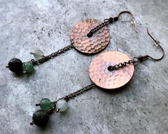 Lightly Patinad Copper Disc Earrings with Nephrite and Jadeite Beads