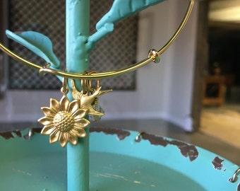 Sale Sunflower Expandable Bangle Bracelet
