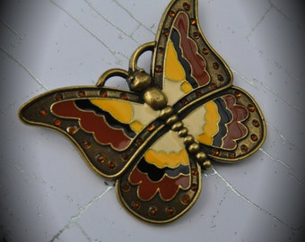 Butterfly Brass Pendant With Crystals And Enamel