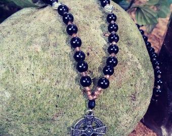 Celtic Knot Majick Emblum Relic Black Onyx Rosary