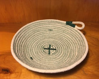 Natural cotton rope bowl with dark green stitching, christmas bowl