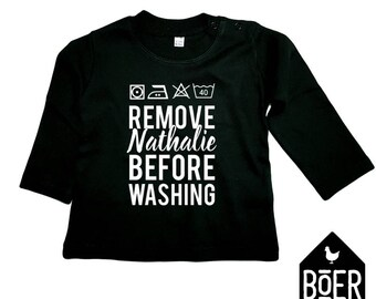 Baby shirt long sleeve: Remove [NAME] before washing / black / 3-6 months / 6-12 months.
