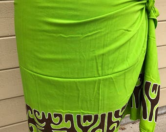 Sale Lime green, dark brown , gold and white tattoo tiare premium Tahitian pareo Full or half sized, Tahitian costume skirt