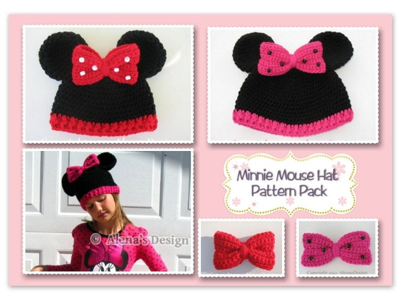 Pattern Pack Minnie Mouse Hat ALL sizes Crochet Patterns Mickey Mouse Hat Baby Children Teen Adult Hat with Mouse Ears Crocheted Bow Gift