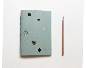 Star notebook, Space notebook, Planet Notebook - BABY  BLUE- A5 ,  A6